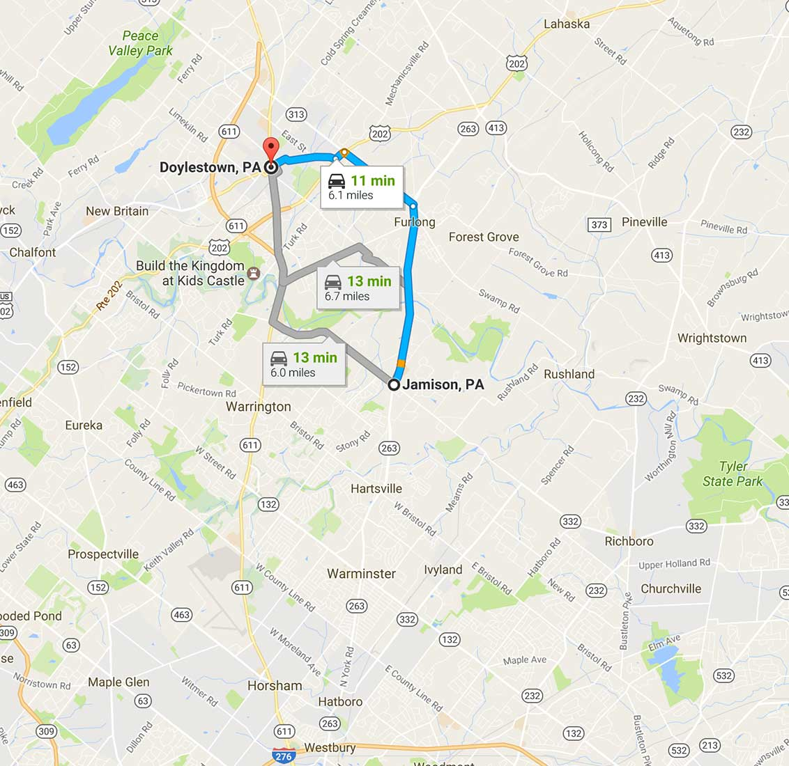 doylestown, pa. service map
