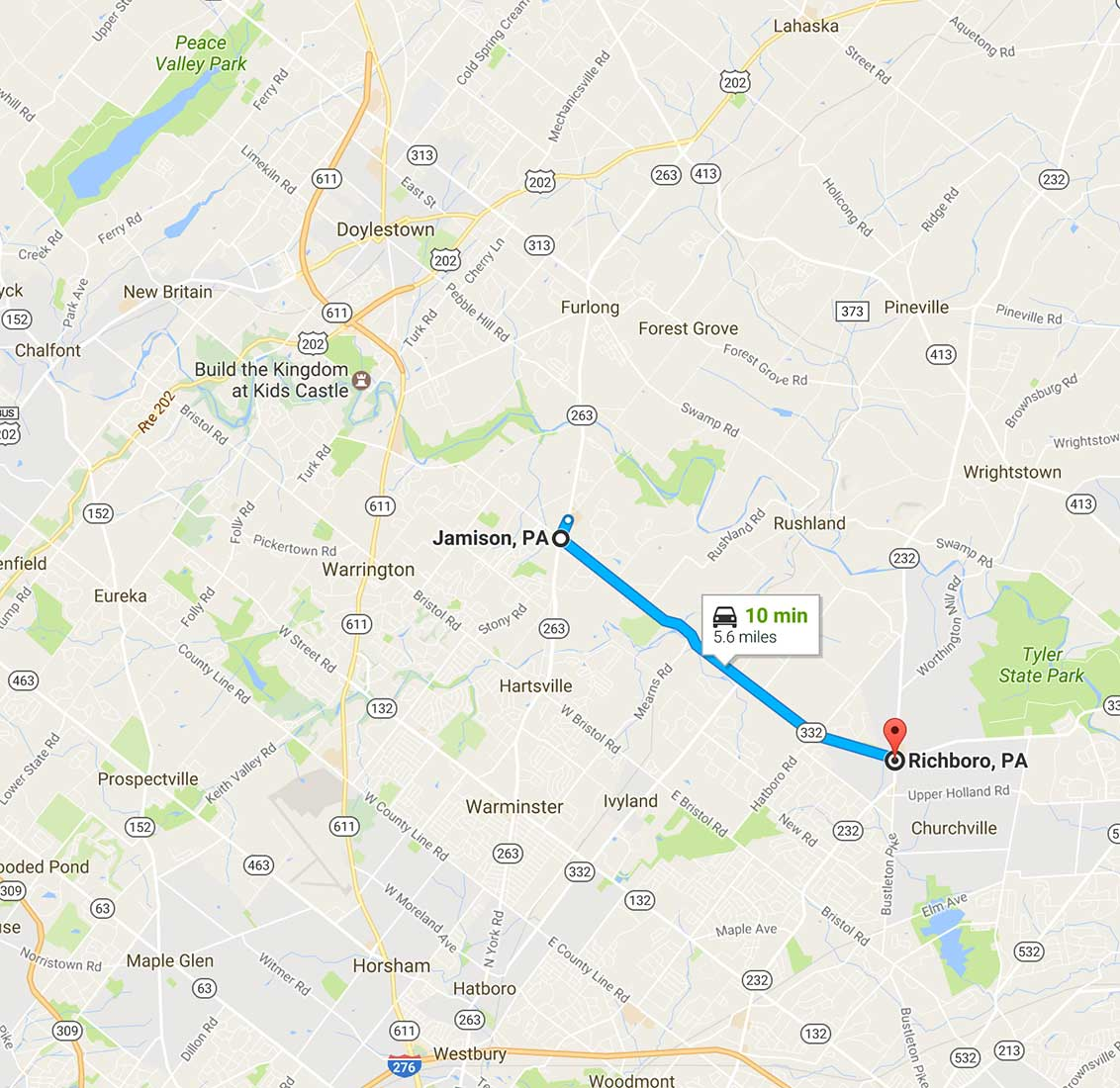 richboro, pa service map
